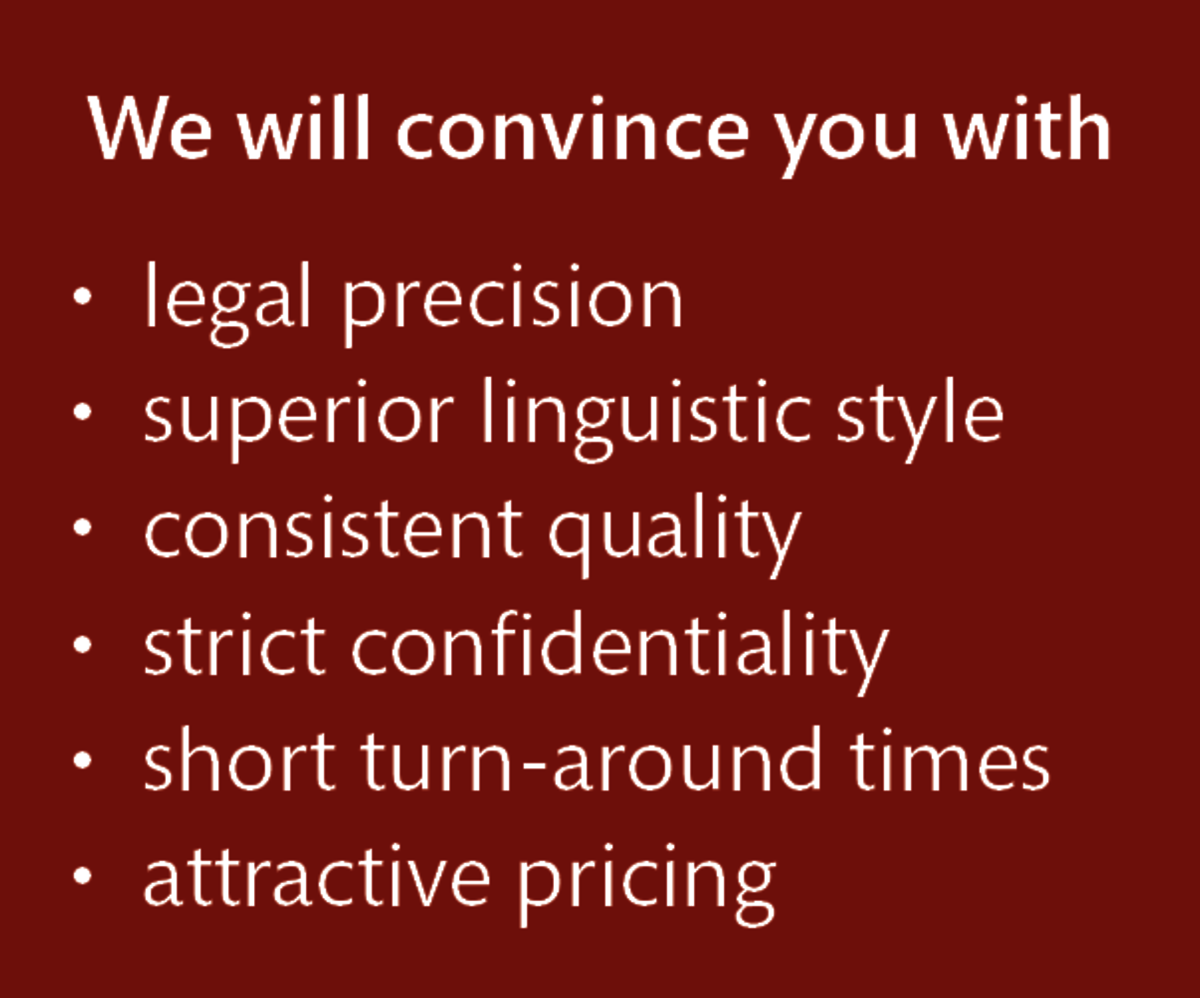 LT Lawtank - Legal translation - legal precision, superior linguistic style, consistent quality, strict confidentiality, short turn-around times, attractive pricing