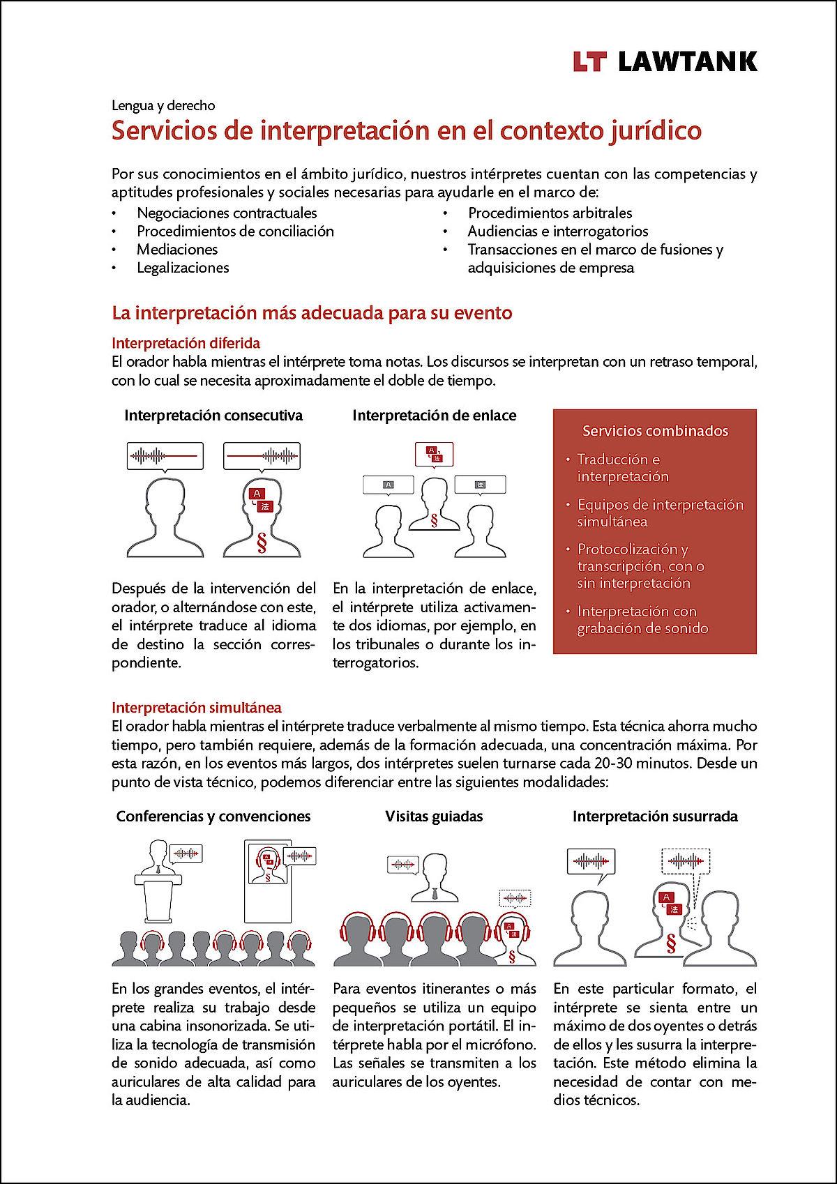 LT Lawtank - Servicios de interpretacion en el contexto juridico - Negociaciones contractuales, Procedimientos de conciliación, Mediaciones, Legalizaciones, Procedimientos arbitrales, Audiencias e interrogatorios, Transacciones en el marco de fusiones y adquisiciones de empresas, Conferencias