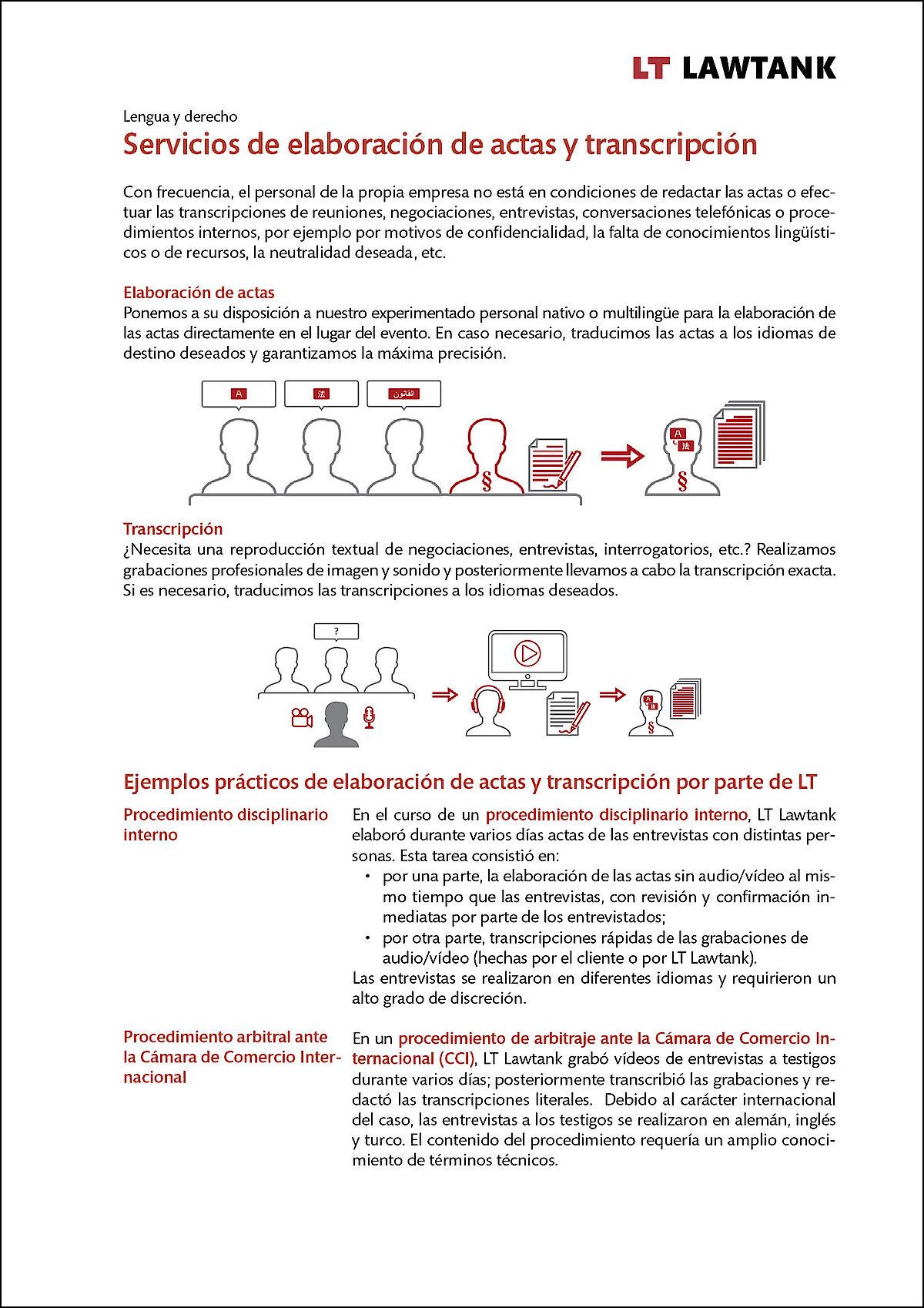 LT Lawtank - Servicios de elaboración de actas y transcripción