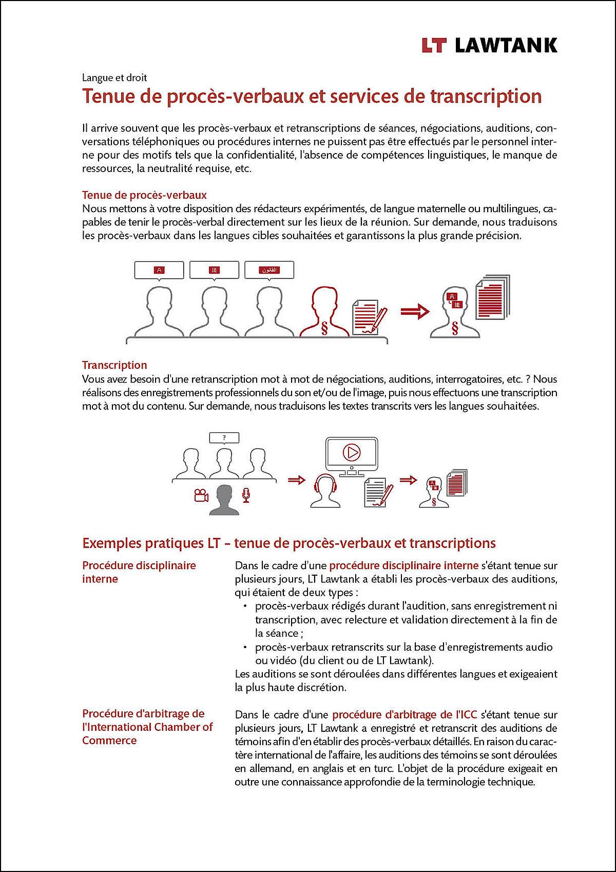 LT Lawtank - Tenue de proces-verbaux et services de transcription - Auditions et interrogatoires, Authentifications, Conférences, Médiations, Négociations de contrats, Procédures d'arbitrage, Procédures de conciliation, Transactions M&A
