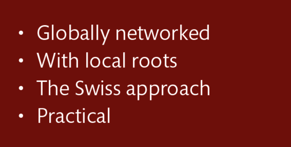 LT Lawtank - Globally networked, With local roots, The Swiss approach, Practical